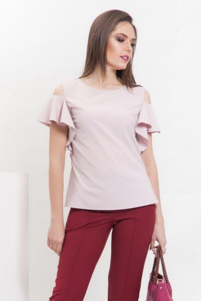 Блуза из тонкой ткани пудрового цвета, Б-222